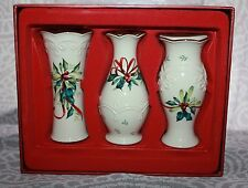 LENOX WINTER GREETINGS BUD VASES SET OF 3 ..... BRAND NEW IN BOX