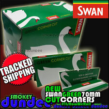 100 Swan Green 70mm Single Wide - Cut Corners Medium Weight Rolling Papers