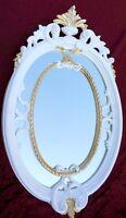 Espejo de Pared Barroco Ovalado Blanco Oro Baño pasillo 50x31 Antiguo Shabby