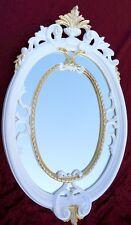 Miroir mural baroque ovale BLANC-OR de sale Bain Couloir 50x31 ANTIQUE SHABBY