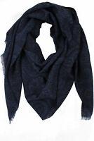 Schal Webschal Paisley modisch blau schwarz 100% Wolle (Merino) unisex R-655