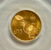 1972 Malta 5 Liri gold coin, - Torch and Map obv, coat arms rev, PCGS MS 65 GEM