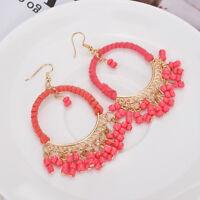 Retro Womens Girls Bohemian Boho Long Tassel Fringe Dangle Earrings Jewelry Gift