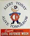 Original Civil Defense Poster, 1950's. Alert Today, Alive Tomorrow- Al Capp Art