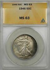 1946 Walking Liberty Silver Half-Dollar Coin 50C ANACS MS-63 (Toned 9A)