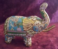 Chinese Champlevé work vintage Victorian oriental antique elephant figurine