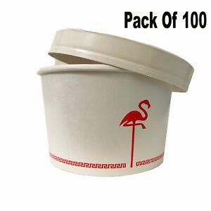Disposable Paper Soup Bowls With Lids 12 Oz Each (Pack Of 100)
