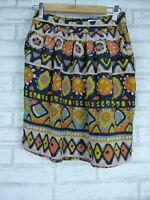 GORMAN Skirt Sz 8 Summer 13 100% Silk Blue, Orange, Green print