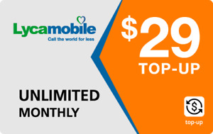 Lyca Mobile  Prepaid $29 Refill Top-Up Prepaid Card ,PIN / RECHARGE