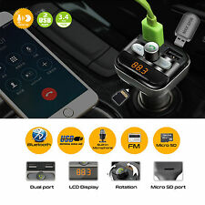 Kit de coche bluetooth inalámbrico transmisor FM Reproductor MP3 Audio Cargador USB doble micrófono
