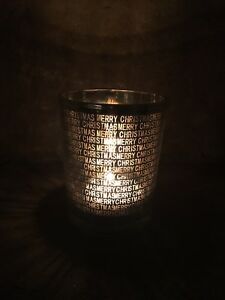 Gisela Graham metallic silver gold Merry Christmas text tea light holder 12.5cm