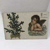 "VTG Postcard Christmas St Paul Minnesota ""A Merry Christmas"" Glitter Tree Angel"