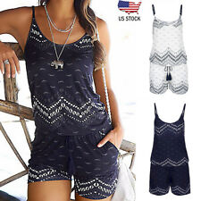 d9d620cefddd Women Holiday Strap Mini Playsuit Summer Shorts Jumpsuit Beach Dress Classic