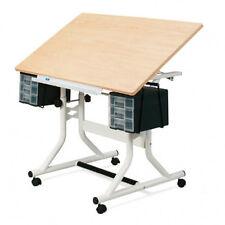 Craftmaster Drawing Board / Table - Floor Standing (White Base / Woodgrain Top)