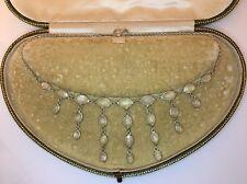 Antique Victorian Moonstone And Silver Pretty Necklace Pendant