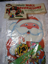 vintage Christmas velvety fuzzy paper decorations The Night before Christmas