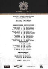 Teamsheet - Burnley Reserves v Rochdale Reserves 2007/8