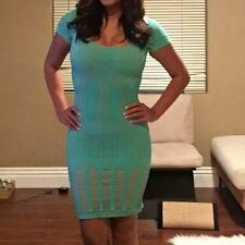Bebe Green And Nude Body Con Dress Small P/S
