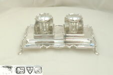 RARE GEORGE V HM STERLING SILVER DOUBLE DESK INKWELL 1913