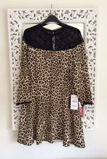 Zara Woman Black and Brown Leopard and Lace Mix Print Dress, Size XL UK 12 14