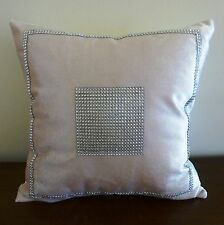 Antique white/champagne velveteen and silver rhinestones cushion cover 45 x 45