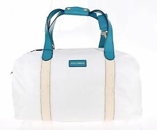 NEW $1300 DOLCE & GABBANA White Nylon Duffle Bag Leather Travel Gym Shoulder