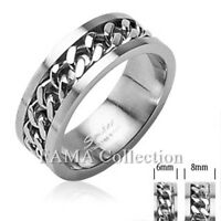 Top Quality FAMA 316L Stainless Steel Ring with Spin Chain Centre Band Size 5-14