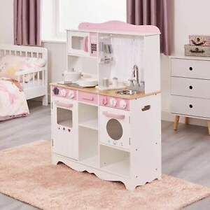 Country Play Kitchen with 9 Wooden Accessories