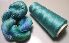 100% Mulberry Queen Silk Yarn 3Ply Lace Weight Caribbean Sea QS022 Lot M 50 gram