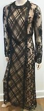 ALESSANDRA RICH Black Lace Round Neck Long Sleeve Nude Lined Maxi Dress 44 UK12