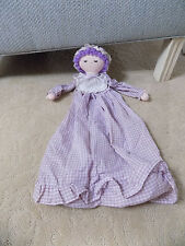 Vtg RUSS Berrie Plush Purple Plaid Stacey Doll Hanging Baby 3D Diaper Bag Holder