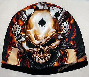 Beanie Dead Man Gambler's Skull Guns Sublimated Design Knit Hat Cap #1021