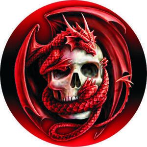 mp0037 Mat Dragon Red Skull Blood Round Mouse Pad Computer