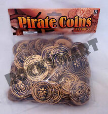 Plastic Gold PIRATE DUBLOONS COINS Bag of 144ct Pirates Skull & Bones RM2066