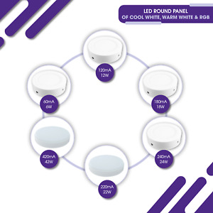 Round LED Surface Mount White Panel Light - 6,12,18,22,24,42W - 5, 7, 9, 12in