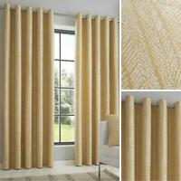 Ochre Eyelet Curtains Geometric Jacquard Ready Made Lined Ring Top Curtain Pairs