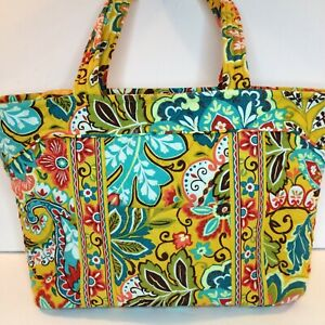 Vera Bradley PROVENCAL pattern Mandy Tote & wristlet: gold with Turquoise Floral