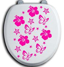 40 WC Deckel Bad Klo Toilettendeckel Aufkleber Hibiskus Blumen Schmetterlinge st