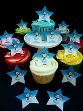 20 SNOWMAN STARS PRECUT CHRISTMAS CUP CAKE EDIBLE RICE WAFER PAPER TOPPERS