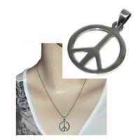 Pendentif médaille en argent massif 925 Peace & Love bijou