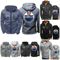 Edmonton Oilers Warm Hoodie Fans Hooded Sweatshirt Full-zip Sporty Jacket Coat