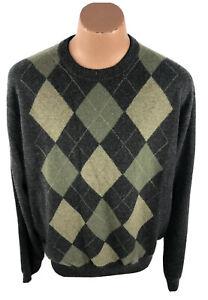 Paolo Mondo Men's XXL Cashmere Crew Neck Sweater Argyle Gray Green NWT D18