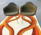Pair of Eames Upholstered Shell Arm Chairs by Herman Miller mid century modern