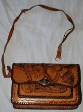 Vintage Tooled Leather 60s Hippie Handbag Purse Brown Tan Flowers Floral Bag