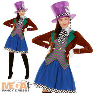 Miss Mad Hatter Ladies Fancy Dress Wonderland Fairy Tale Adults Book Day Costume