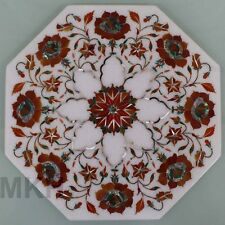 "12"" MARBLE TILES INLAY HANDMADE CENTER CORNER COFFEE SIDE TABLE TOP MOSAIC"