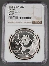 China 1991 1 Oz 999 Silver Panda 10 Yuan Coin NGC MS69 GEM BU+ Large Date LD
