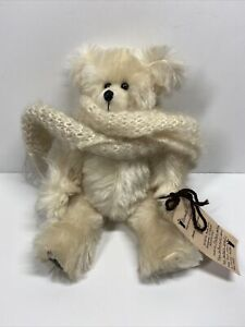 """handmade Beige mohair bear With Scarf 10"""" Leather Paw Pads"""