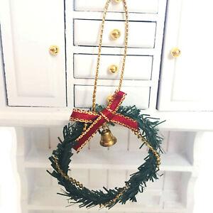 Dollhouse Christmas Decor Bell Bowknot Garland Miniature Wreath Accessory