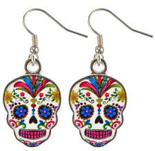"DAY OF THE DEAD ""Dia De Los Muertos"" Sugar Skull Earrings White"